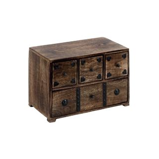 Wood, Metal 11-inch Wide x 8-inch High Chest Box