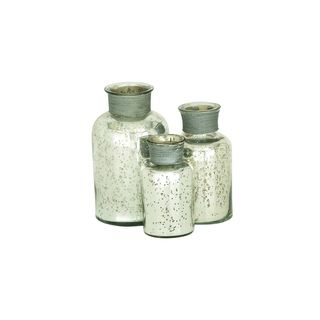Modern Reflections Rustic Painted Mottled Apothecary Jars (Set of 3)