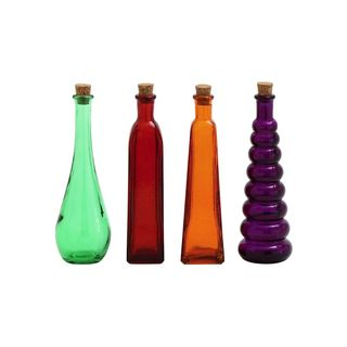 Multicolored Glass 8-inch High x 2-inch Wide 4-piece Bottle Set with Cork Stoppers