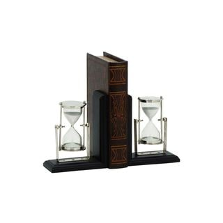 New Traditional Rustic MDF, Wood, Aluminum 7-inch Bookends