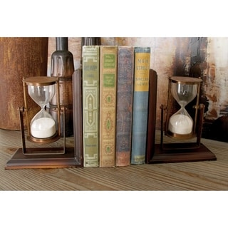 Aluminum, Wood 6-inch Wide x 7-inch High Book End Pair