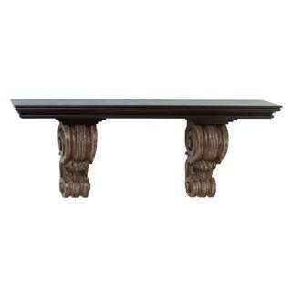 Rustic Elegance Corbel Wood Polystone 48-inch Shelf