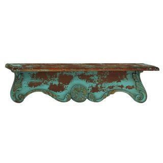 The Curated Nomad Jiminez Turquoise Wood Distressed Wall Shelf