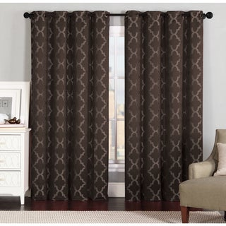 Sienna by Artistic Linen Extra-wide Grommet Puckered Geometric Jacquard Window Curtain Panel Pair