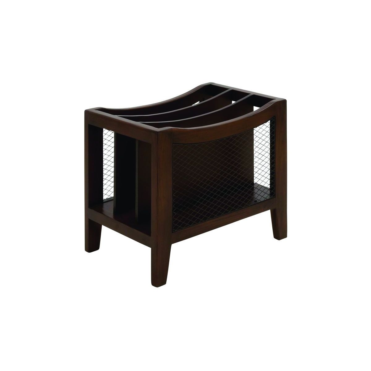 Walnut-finish Wood/Iron 13-inch x 15-inch Magazine Holder - Free ...