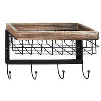 Black Iron/Wood 9-inch x 13-inch Wall Basket With Hooks
