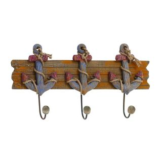 Wood and Iron Anchor Wall Hook Rack