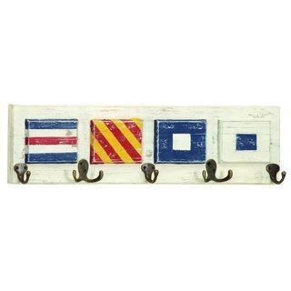 Wood and Metal Nautical Flag Wall Hook Rack