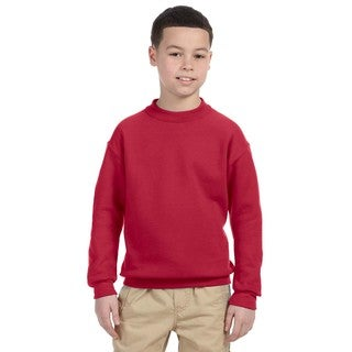 Super Sweats Youth Red Cotton-blended Crew Neck Sweatshirt
