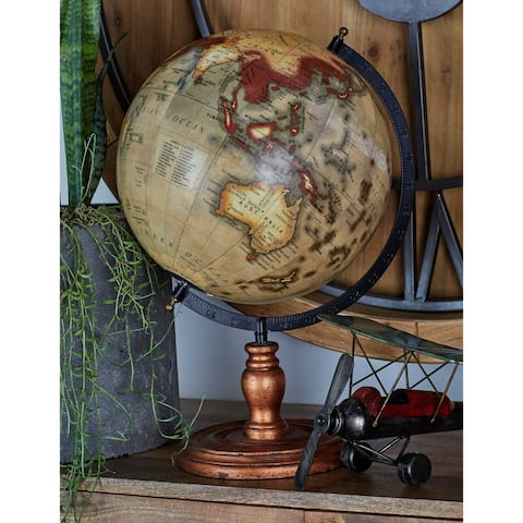 Iron and Wood Tilted World Globe