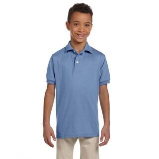 Spotshield Boys' Light Blue Polyester/Cotton Jersey Polo