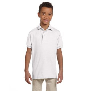 Spotshield Boys' White Cotton Jersey Polo Shirt