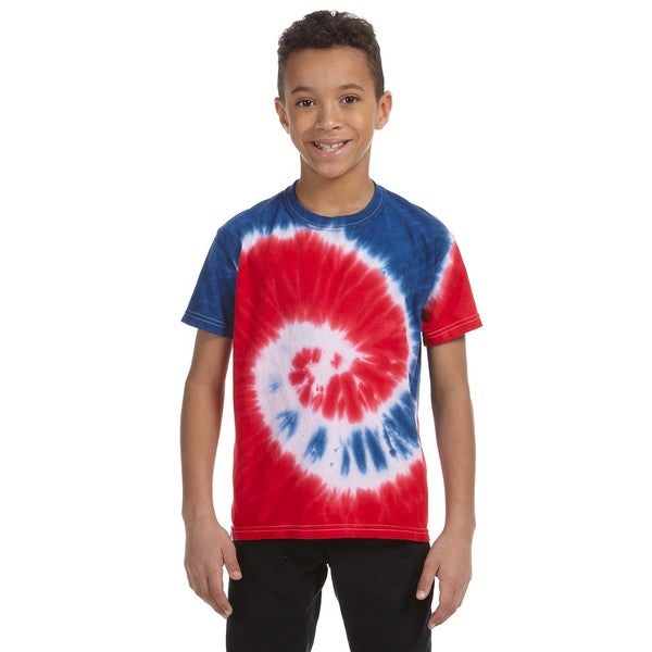 6f0481d949fe Shop Boy s Tie-Dyed Spiral Royal   Red T-shirt - On Sale - Free ...