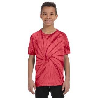 Tie-Dye Boy's Spider Red Cotton Tie-Dyed T-Shirt