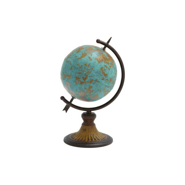 The Curated Nomad Fermato Iron/Wood 14-inch x 9-inch Globe