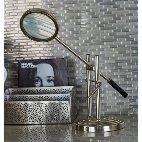 Modern Reflections Aluminum and Glass Magnifying Glass and Stand