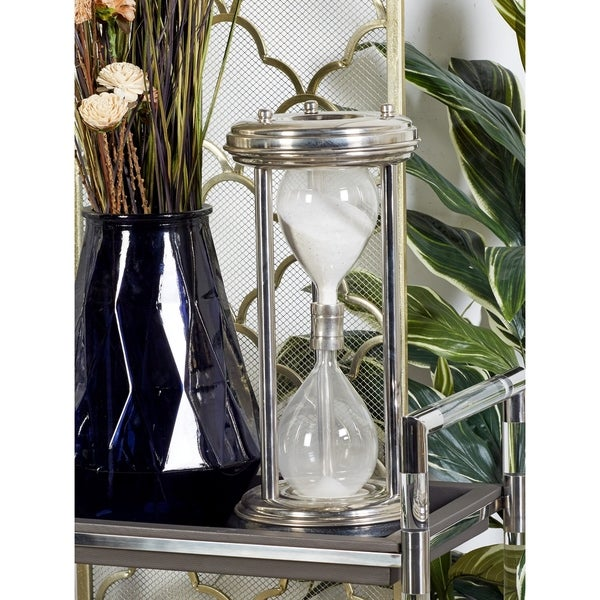 Modern 19 x 9 Inch Silver Metal Hourglass Sand Timer by Studio 350