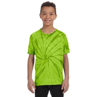 Boy's Tie-Dyed Lime-colored Cotton Shirt