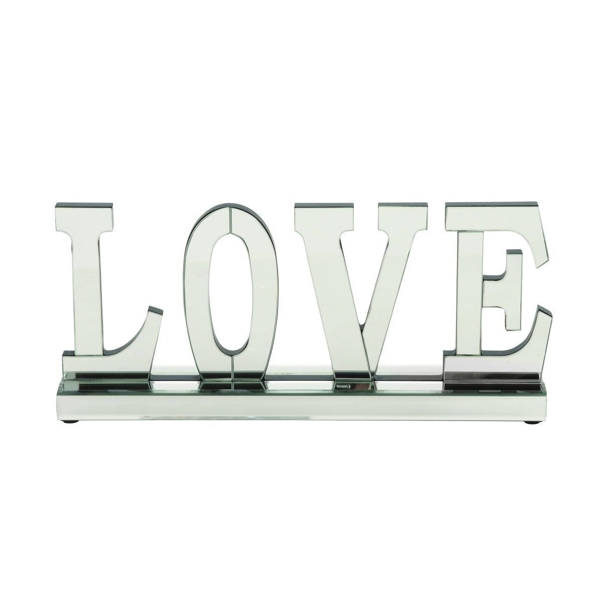 Mirrored Wood 8-inch x 18-inch 'Love' Decorative Figurine