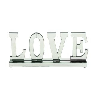 Mirrored Wood 8-inch x 18-inch 'Love' Decorative Figurine - Thumbnail 0