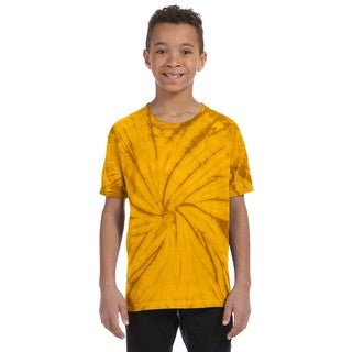 Boys' Spider Gold Cotton Tie-dyed T-shirt