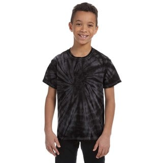 Boy's Tie-dyed Cotton Spider Black T-shirt