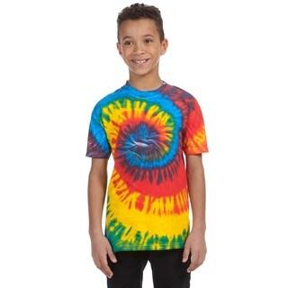 Boy's Blue/Multicolor Cotton Rasta Tie-dyed T-shirt