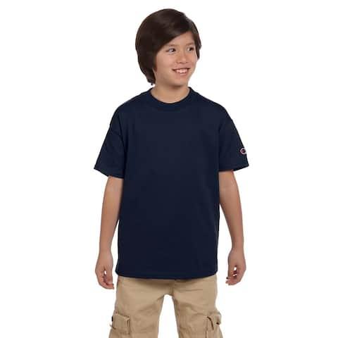 Champion Boys' Navy Blue Polyester/Cotton Jersey T-shirt