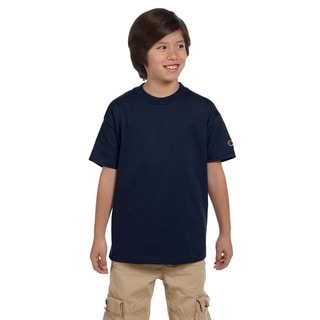 Champion Boys' Navy Blue Polyester/Cotton Jersey T-shirt