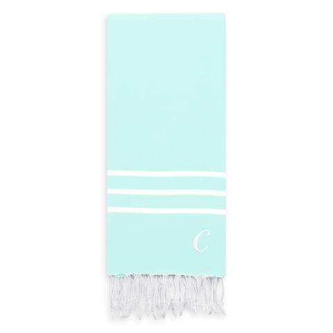 Authentic Ella Soft Aqua Monogrammed Pestemal Fouta Turkish Cotton Bath Towel