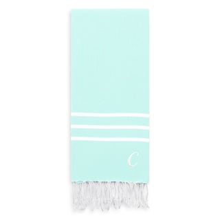 Authentic Ella Soft Aqua Monogrammed Pestemal Fouta Turkish Cotton Bath Towel