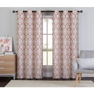 Artistic Linen Verdant Textured Jacquard and Grommet Top Curtain Panel Pair