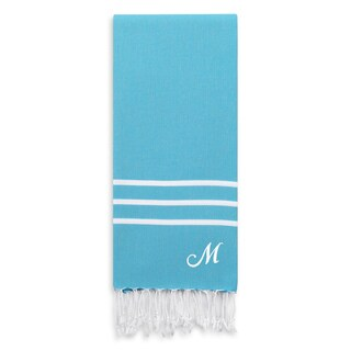 Authentic Ella Turquoise Blue Monogrammed Pestemal Fouta Turkish Cotton Bath Towel