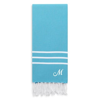 Authentic Ella Turquoise Blue Monogrammed Pestemal Fouta Turkish Cotton Bath Towel