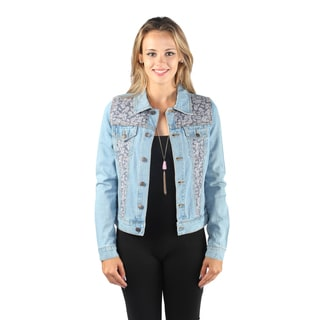 Hadari Woman's Button Down Denim Jacket with Paisley Print