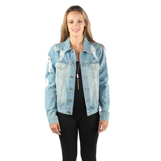 Hadari Woman's Buttoned Down Ripped Denim Jacket with Back Heart Design