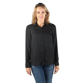Hadari Woman's Wing Collar Button Down Full Sleeve Black Blouse