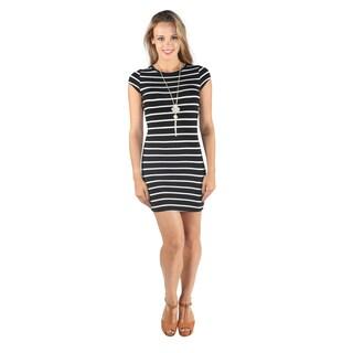 Hadari Woman's Black High Round Neckline Stripped Shift Midi Dress
