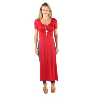 Hadari Woman's High Round 1/4 Sleeve high side slits Maxi Casual basic Tee Dress Red