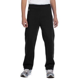 Dri-Power Boy's Black Fleece Open-bottom Pant