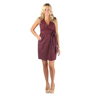 Hadari Woman's Bergundy Sleeveless V-Neck Wrap Around Bow Midi Dress