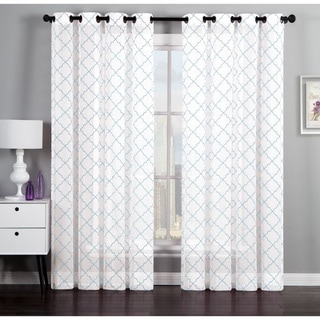 Geometric Flocked Linen by Artistic Linen 84-inch Curtain Window Panel Pair