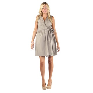 Hadari Woman's Beige Sleeveless V-Neck Wrap Around Bow Midi Dress