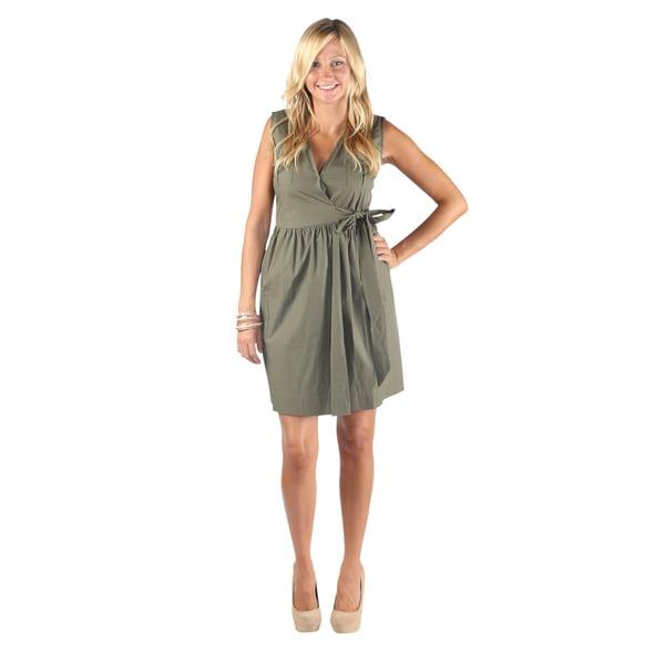 65ffb44e5bc8a Hadari Woman's Olive Sleeveless V-Neck Wrap Around Bow Midi Dress
