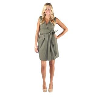 Hadari Woman's Olive Sleeveless V-Neck Wrap Around Bow Midi Dress