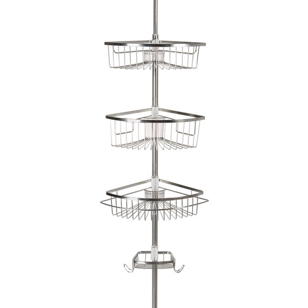 Shop Stainless Steel Rivercrest Tension Pole 3 Shelf Shower Caddy