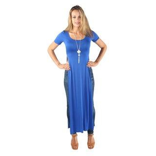 Hadari Woman's High Round 1/4 Sleeve high side slits Maxi Casual basic Tee Dress Royal