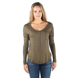 Hadari Woman's Mid Round Button Down 1/2 Sleeve Loosefit Olive Top