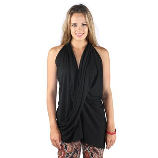 Hadari Womans Casual Sleeveless Overlapped Frontal V-Neck Back Crossed Black Top