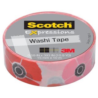 "3M C314-P18 .59"" X 393"" Poppy Expressions Washi Tape